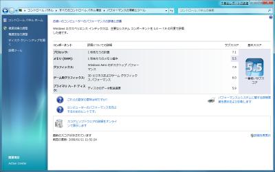 Windowsエクスペリエンス結果