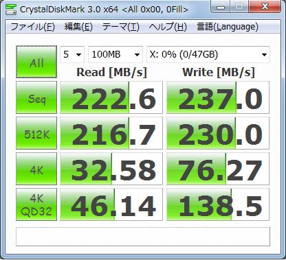 CrystalDiskMark3.0 100MB 0fill Vertex2 50GB