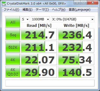 CrystalDiskMark3.0 1000MB 0fill Vertex2 50GB
