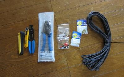 スピーカーケーブルと工具