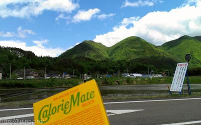 山を見ながら昼飯
