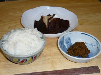 焼き椎茸とフキ味噌定食