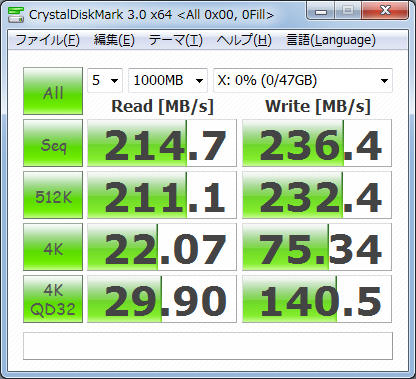 CrystalDiskMark3.0 1000MB 0fill Vertex2 50GB