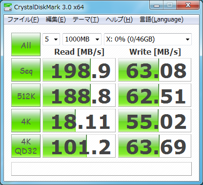 CrystalDiskMark3.0 Vertex2 50GB 1.10