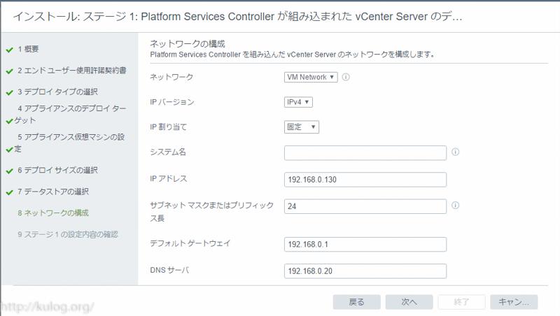 vCenterのネットワーク情報